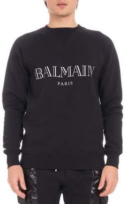Balmain Men's Logo Crewneck Raglan Cotton Sweatshirt