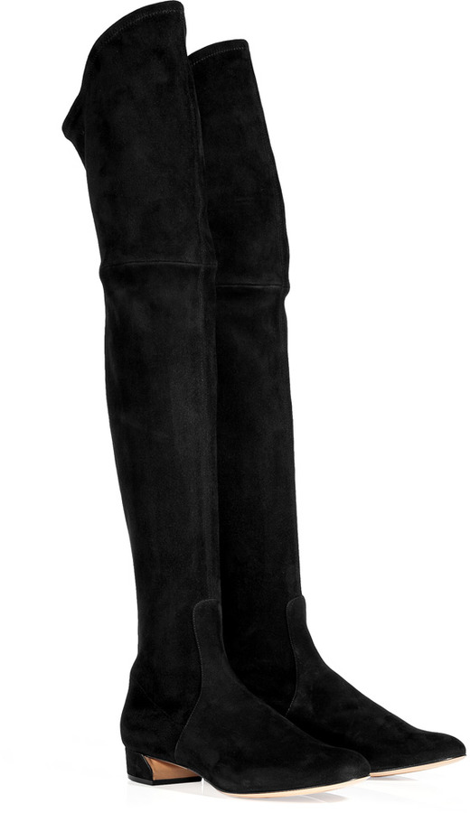 Casadei Black Over-the-knee Suede Boots