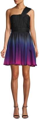 Halston One-Shoulder Shirred Chiffon Ombre Mini Dress