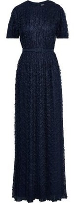 Mikael Aghal Belted Pleated Lace Gown