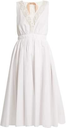 No.21 NO. 21 V-neck lace-trimmed cotton-poplin midi dress