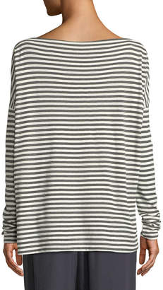 Vince Striped Boat-Neck Long-Sleeve Top