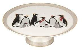 Portmeirion Penguins 22K Gold and Porcelain Footed Cake Plate