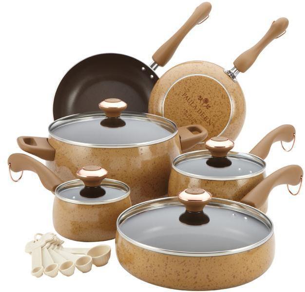 Paula Deen 15-pc. Signature Porcelain Cookware Set, Honey Speckle