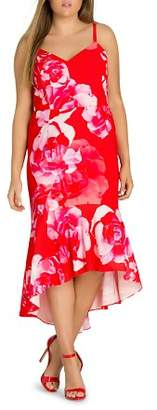 City Chic Plus Tango Floral High/Low Midi Dress