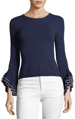 Milly Layered Ruffle-Sleeve Pullover Top