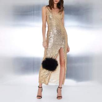 River Island Womens Gold sequin plunge split front maxi dress