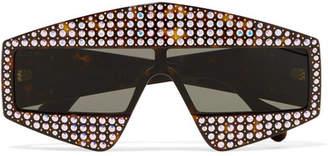 Crystal-embellished Square-frame Acetate Sunglasses - Tortoiseshell