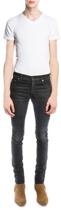 Saint Laurent Skinny-Fit Stretch-Denim Jeans, Black $1,190 thestylecure.com