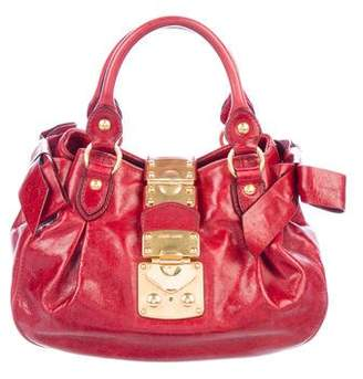 Miu Miu Bow-Accented Leather Satchel