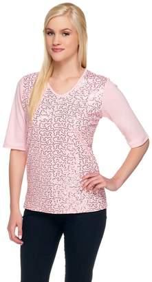 Factory Quacker Sequin Front Elbow Sleeve V-neck T-shirt