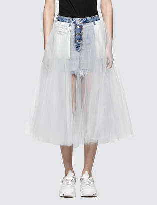 Unravel Project Short Stonewash Denim Tulle Skirt