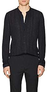 John Varvatos Men's Striped Linen-Blend Shirt - Gray
