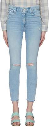 Mother 'The High Waisted Looker Ankle Fray' palm tree print jeans
