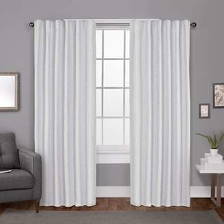 Exclusive Home Zeus Solid Textured Jacquard with Blackout Liner Hidden Tab Window Curtain Panel Pair