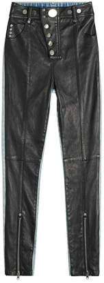 Alexander Wang Leather and Denim Pants with Snappers