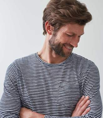 Reiss FELLS Linen Blend Striped T-shirt Navy