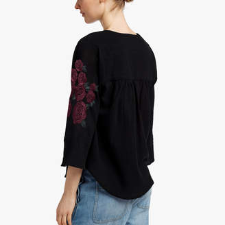 James Perse GRATEFUL DEAD ROSE EMBROIDERED BLOUSE