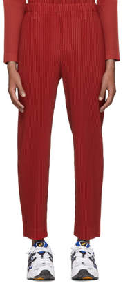 Issey Miyake Homme Plisse Red Pleated Tailored Trousers