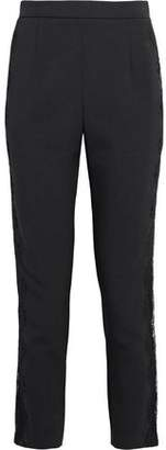 Pierre Balmain Cropped Lace-Trimmed Crepe Slim-Leg Pants