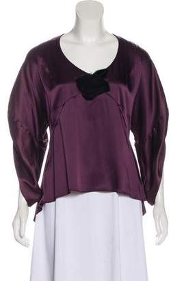 Andrew Gn Satin Long Sleeve Top