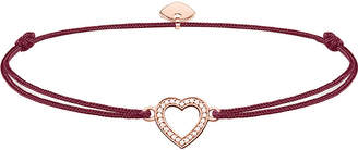 Thomas Sabo Little Secrets textile and sterling silver 18ct rose-gold plated heart bracelet