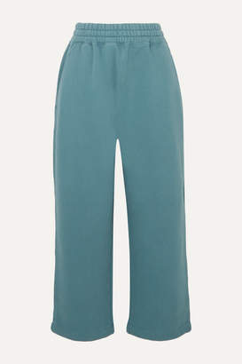 Alexander Wang Cropped Cotton-jersey Track Pants - Teal