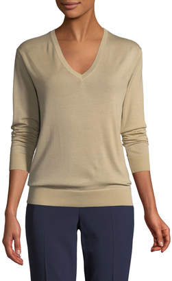 Ralph Lauren V-Neck Long-Sleeve Cashmere Jersey Sweater