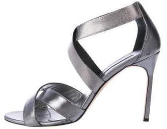 Manolo Blahnik Metallic Leather Strap Sandals