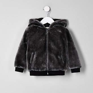 River Island Mini boys grey faux fur hooded bomber jacket