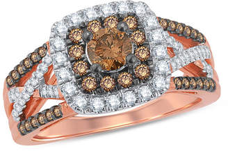 Zales 1 CT. T.W. Champagne and White Diamond Double Cushion Frame Split Shank Ring in 10K Rose Gold