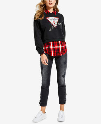 GUESS Iconic Sweety Rhinestone Cotton Fleece Sweatshirt