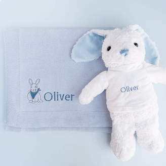 Babyblooms Personalised Baby Boy Bunny With Blanket