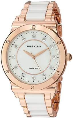 Anne Klein Women's AK/2902WTRG Diamond-Accented Rose Gold-Tone and White Ceramic Bracelet Watch