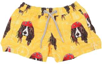 MC2 Saint Barth Pirate Dog Print Nylon Swim Shorts