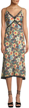 Le Superbe Hibiscus Midi-Length Tie-Back Slip Dress