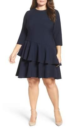 Eliza J Ruffle Tiered Shift Dress