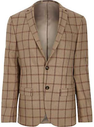 River Island Beige check skinny fit suit jacket
