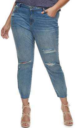JLO by Jennifer Lopez Plus Size Embellished Distressed Skinny Ankle Jeans