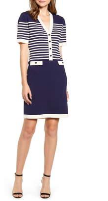Anne Klein Stripe Colorblock Cotton Blend Sweater Dress