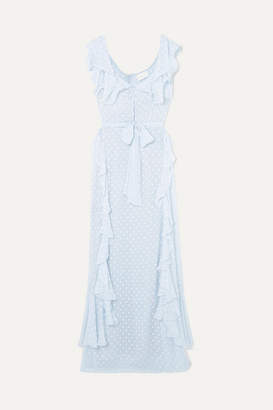 Alice McCall Moon Talking Ruffled Fil Coupé Maxi Dress - Light blue
