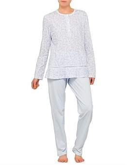 Linclalor Long Sleeve Frill Detail Half Button Up Pyjama Set