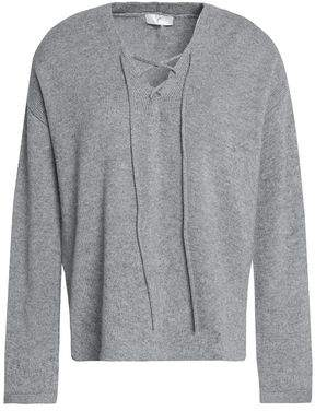 Joie Lace-Up Stretch-Knit Sweater