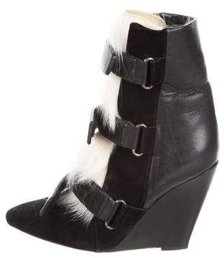Isabel Marant Faux Fur-Trimmed Wedge Ankle Boots