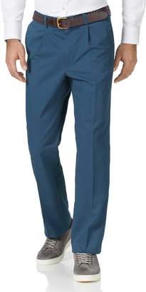 Charles Tyrwhitt Bright Blue Classic Fit Single Pleat Washed Cotton Chino Pants Size W32 L32