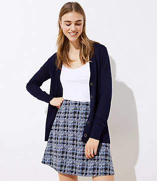 LOFT Petite Textured Plaid Pull On Flippy Skirt