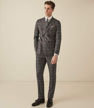Reiss TRINITY CHECKED DOUBLE BREASTED SUIT Charcoal