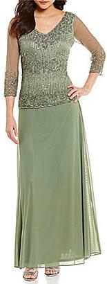 Pisarro Nights V-Neck Beaded Bodice Gown $278 thestylecure.com