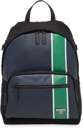 Prada technical fabric and leather stripe backpack