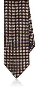 Barneys New York MEN'S GEOMETRIC-PATTERN SILK NECKTIE-ORANGE